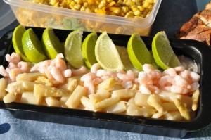 Tunmousse med rejer, asparges og lime
