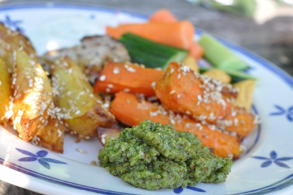 Pesto med basilikum & mandler basilikumpesto