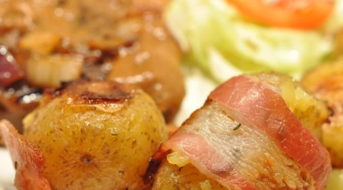 Små frække kartofler med bacon, hvidløg og timian