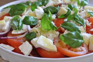 Tomatsalat med mozzarella basilikum - nem