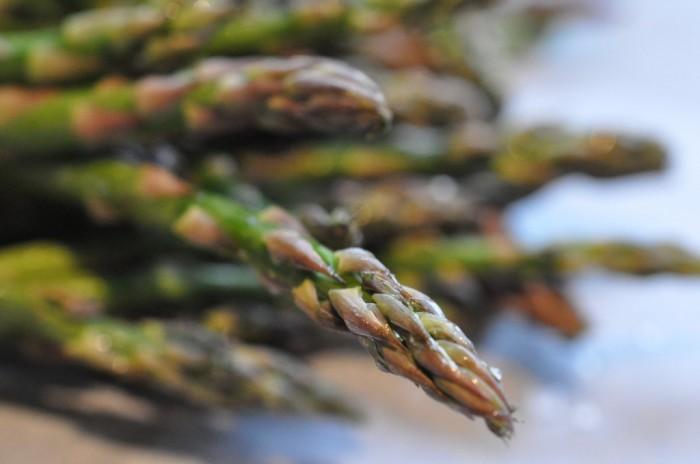 Grillede asparges med serranoskinke