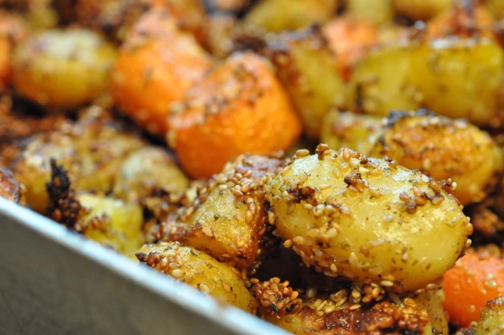 Pestokartofler i ovn med sesam ovnkartofler