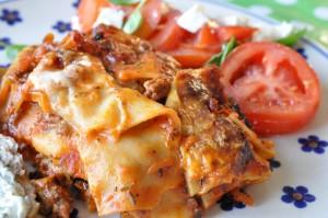 Lasagne med oksekød, squash og gulerødder