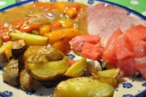 Mør og lækker skinke i Römertopf med grøntsager og kokosmælk