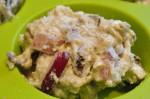 Grove muffins med skinke, feta, rødløg og soltørret tomat