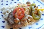 Bøf i folie med tomat, løg, peberfrugt og champignon