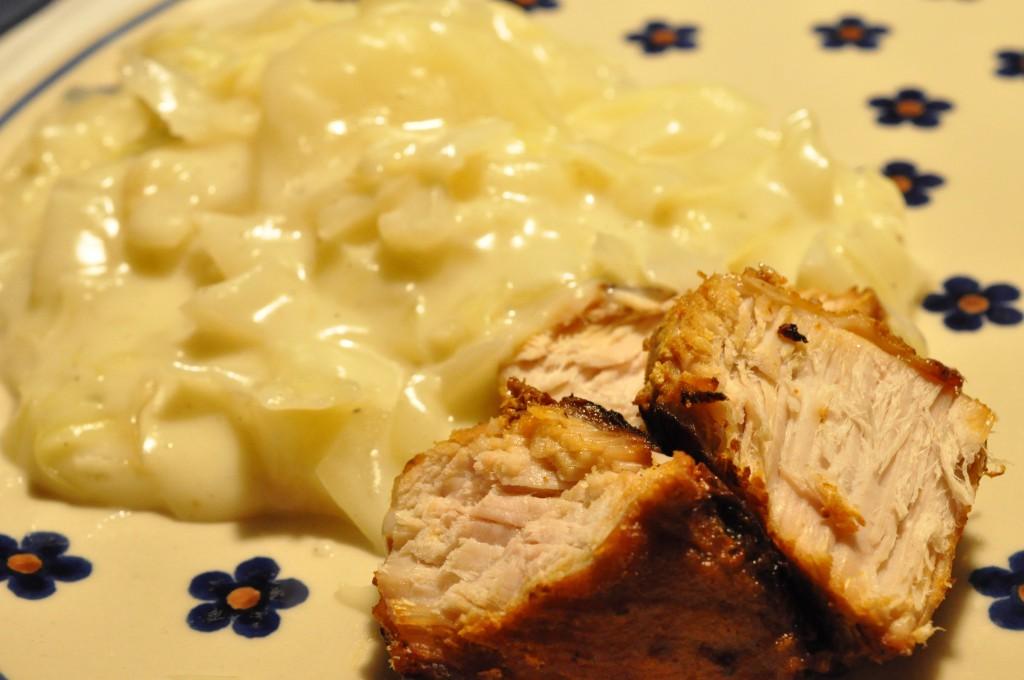 Stuvet hvidkål med mørbrad - mormormad på menuen