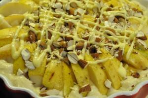 Lækker pæretærte med mandler, marcipan og nougat