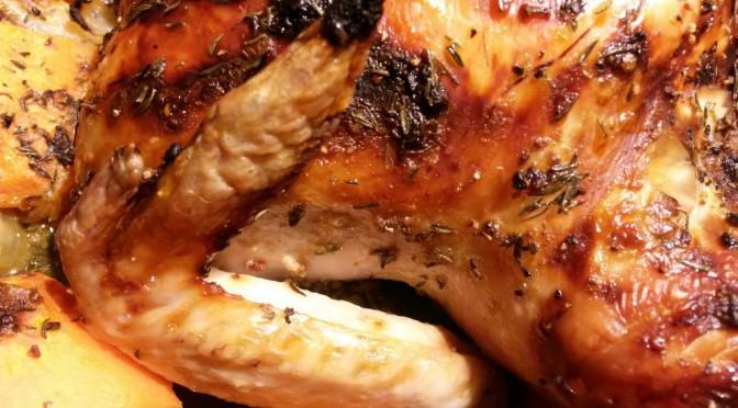 Saftig kylling med honning og timian og timiankartofler