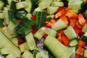 Hotwings og frisk bulgursalat med grønt