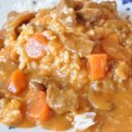 Lækker gullash med flødesauce og ris