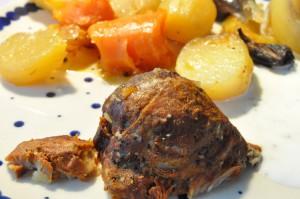 Pulled pork og stegte kartofler i Römertopf