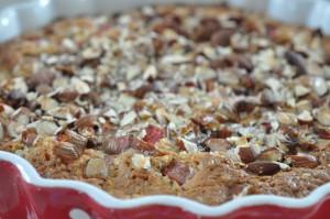 Rabarberkage med kokos, marcipan og mandler