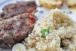 Grillede oksekødsruller med hvidløg, løg og peberfrugt