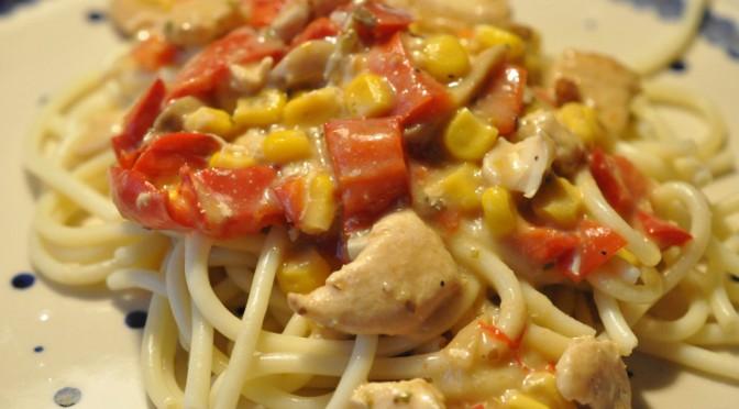 Bagenørdens simregryde med kyllingefilet og paprika i ostesauce