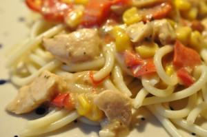 Bagenørdens simregryde med kyllingefilet, paprika og flødeost
