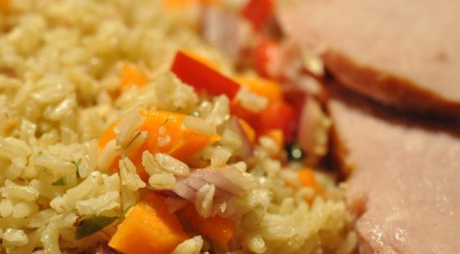Lækker rissalat med hamburgerryg og oreganodressing