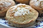 Muffins med nougat, marcipan og havregryn