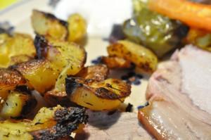 Lækre sprøde ovnkartofler med hvidløg og timian