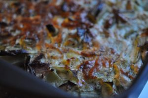 Ovnbagte æggekager med porrer og blomkål