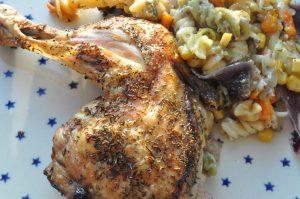 One pot pasta med kylling, timian og grønt