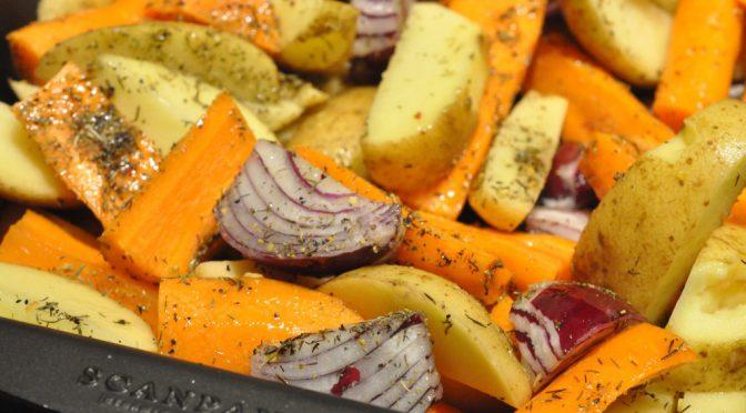 Culottesteg på sprødt kartoffelfad med bagte rødløg