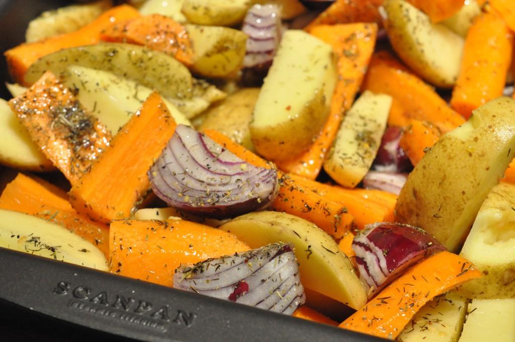 Culottesteg på kartoffelfad med bagte rødløg