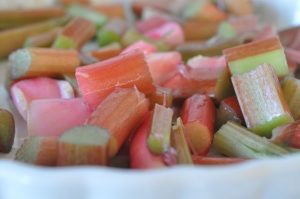 Rabarbercrumble - nem og lækker rabarberkage
