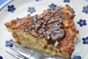 Kage med kokos og chokolade - nem kokoskage