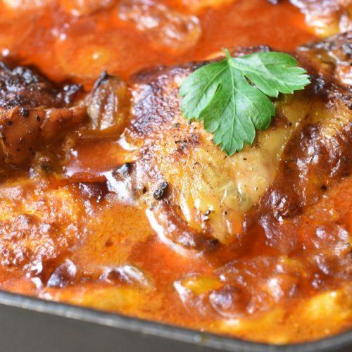 Kylling i paprika flødesovs med bacon opskrift