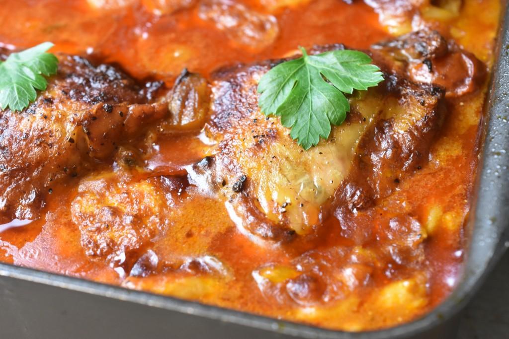 Kylling i fad med paprika flødesovs opskrift