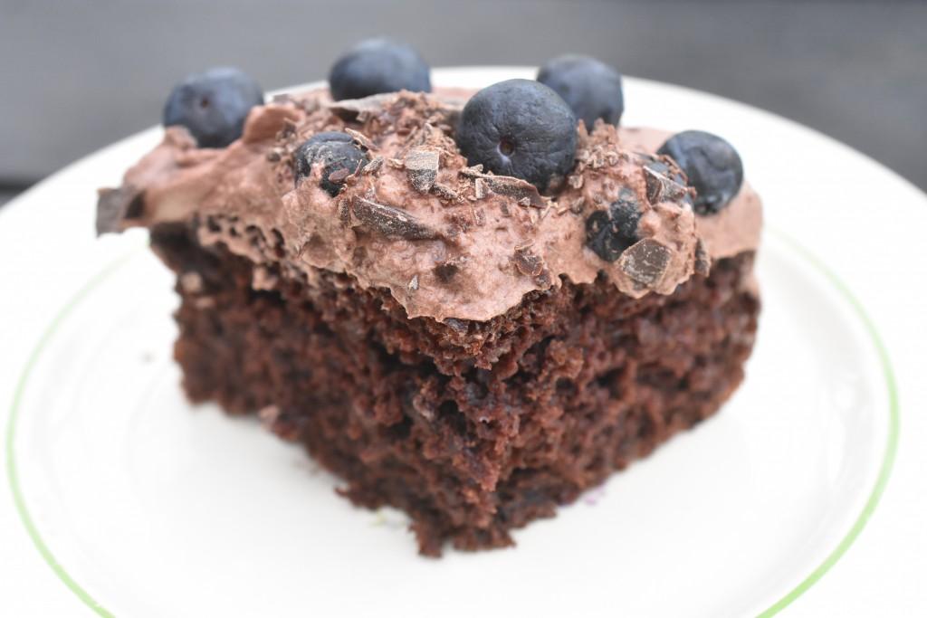Svampet chokoladekage med chokoladecreme